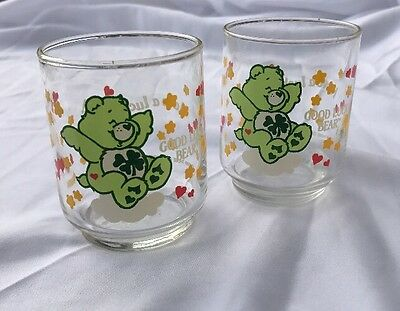 Vintage Care Bears Small Two Glasses   - Good Luck Bear -1986- Have A Lucky Day