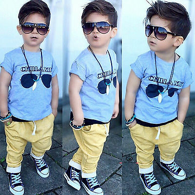 2Pcs Kids Baby Boy Cool T-Shirt Tops + Pants Trousers Casual Clothes Outfits Set