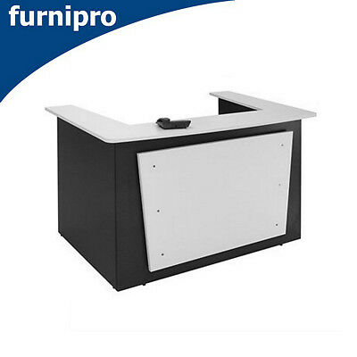 New Oxley Office Reception Counter Office Desk White/Ironstone 1800x1160x1090mm
