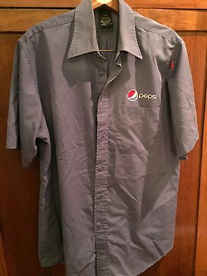 Mens Embroidered PEPSI Button Front S/S Casual Shirt Blue Large CLST