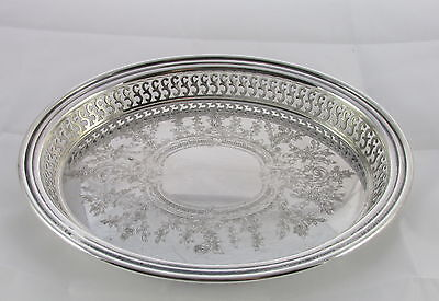 Vintage Oneida Silver Plate Oval Gallery Engraved Serving Tray Platter