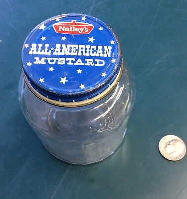 Vintage Nalley's All American Mustard Glass Bottle Jar With Labeled Lid