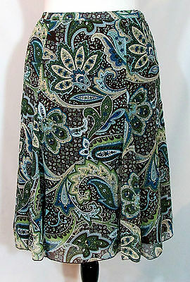 Darling Dressbarn Brown Blue Paisley Full Skirt Size 12 New Nwt $34.99