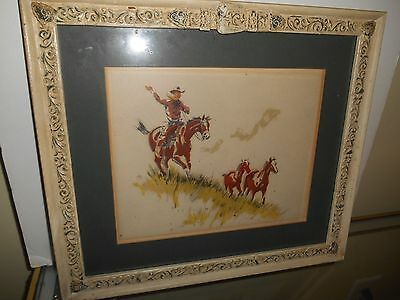 WATERCOLOR art painting western SIGNED horse american artist STANLEY M. LONG