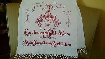 Antique German Redwork Hand Embroidery Over-Towel Towel-Verse & Monogram-Fringe