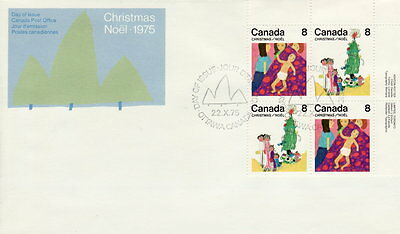 Canada #676-677 8¢ Family Christmas Ur Plate Block First Day Cover