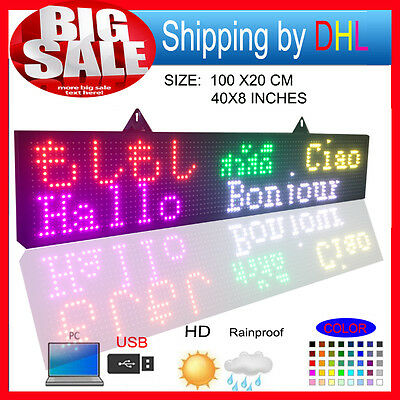 """8""""x40"""" Programmable Led Sign Full Color Outdoor Scrolling Message Display"""