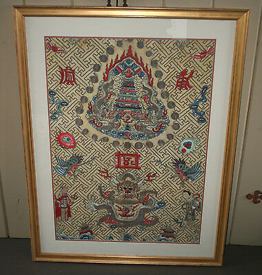 Rare Embroidery Chinese silk Gold embroidered panel Dragon Temple Robe Textile