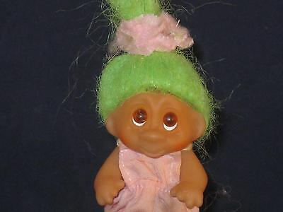 "1985 2.5"" Dam Norfin Girl Green Hair With A Pink Tie And Pink Overalls W478"