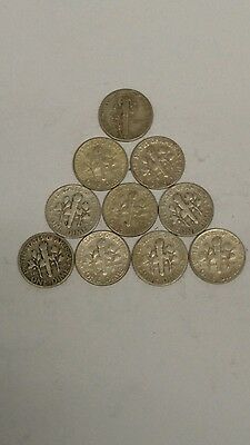 Lot Of 10 Silver Dimes