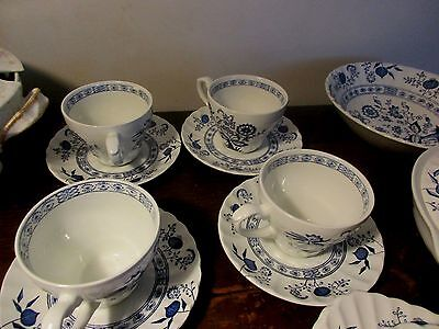 Classic J&G Meakin BLUE NORDIC onion Ironstone England  cup and saucer x4  set