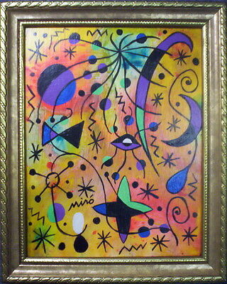 """Joan Miro"" framed painting on panel"