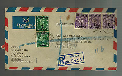 1949 Bahrain airmail cover to India Registered Multi Franked
