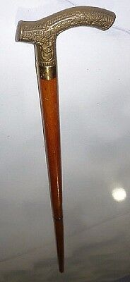Vintage wood cane walking stick w/ ornate brass handle, 2 piece cane.