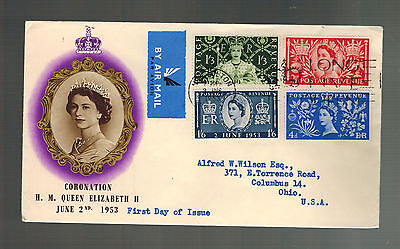 1953 England First Day Cover Queen Elizabeth II coronation FDC to USA QE2