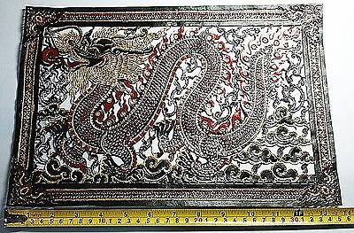 Thai Handcraved & Painted Leather Dargon Picture Wall Hanging Handmade Homedecor