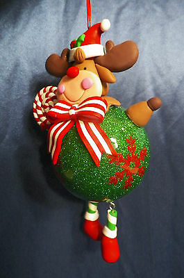 Reindeer with Ball Body Christmas Tree Ornament new
