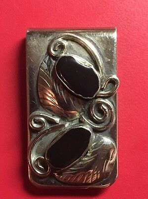 Black Onyx and Coin Silver Money Clip Lot 156