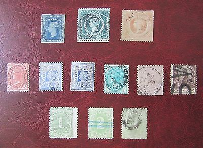 Australian State postage stamps: New South Wales used selection (12 stamps)