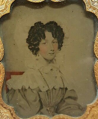 Antique Early American? Womens Fashion Bonnet Gold Necklace Ambrotype Fine Photo
