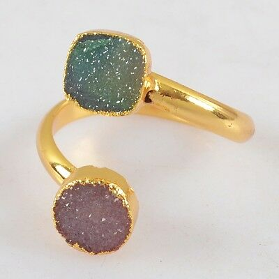 Size 8 Agate Druzy Geode Adjustable Ring Gold Plated B024341