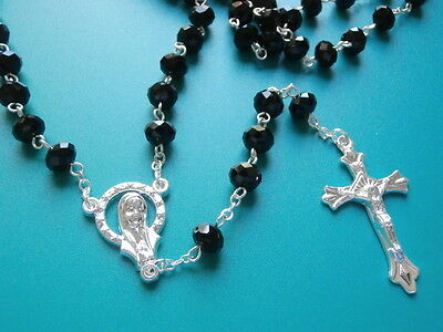Black Crystal & Silver Rosary Beads Necklace + FREE Rosary Booklet Catholic Gift
