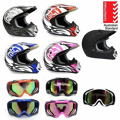 Helmet Adult Moto Motocross Dirt Bike Quad Atv Trail S, M, L, Xl With Goggles Au