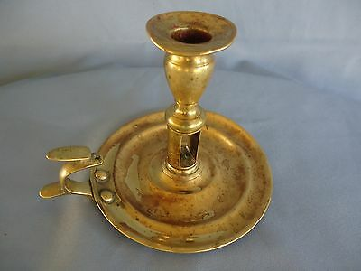 Antique Vintage 19C Brass Candle holder Chamber Candle 15 OZ hand Forged #2146