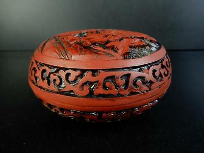 E9811: Chinese Resin Tsuishu pattern Flower sculpture SEAL INK CASE Calligraphy