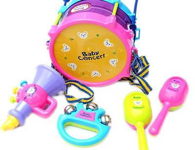 5pcs Kids Baby Roll Drum Musical Instruments Band Kit Children Toy W1