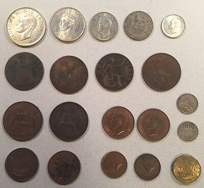 Vintage Great Britain 20 Piece Coin Lot (1887 - 1945)