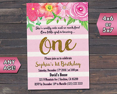Girl First 1st One Birthday Party Invite