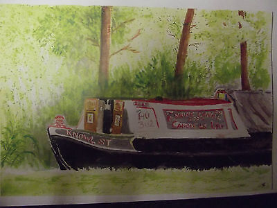 """Kate Booth Large Size (A3) Watercolour Print Narrow Boat """"Knowl St"""""""