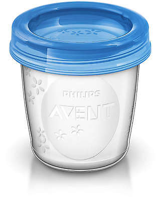 Avent 10 REUSABLE BREAST MILK STORAGE CUPS 180ML Baby/Toddler Feeding BN
