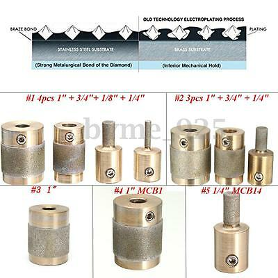 5 Style Brass Grit Grinding Bits 1'' 3/4'' 1/8'' 1/4'' for Inland Stained Glass