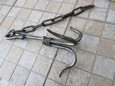 Vintage Iron Large Anchor Grapnel Claw Blacksmith Made Old Hook Whit Chain