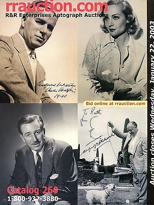 R&r Auction Catalogue Enchères Autographes Hitchock Chaplin Mcqueen Disney Etc