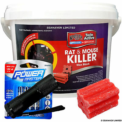 1kg Pro Knockout Wax 25g Blocks - Rat & Mouse Killer Bait with UV Detector Torch