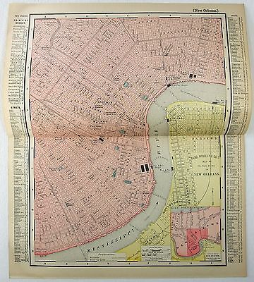 Original 1895 Map of Central New Orleans, LA by Rand McNally
