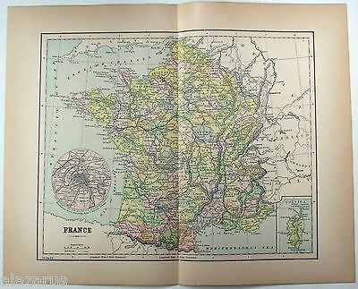 Original 1904 Map of  France by Fisk & Co.