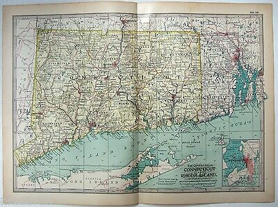 Original 1902 Map of Connecticut & Rhode Island