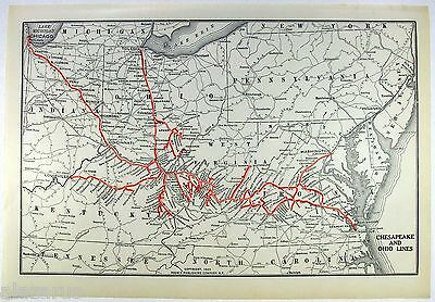 Original 1925 Dated Map of the Chesapeake and Ohio Railroad