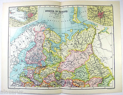 Original 1909 Map of Russia in Europe - Northern Section - by John Bartholomew