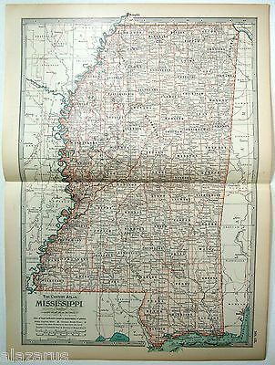 Original 1902 Map of Mississippi by The Century Company