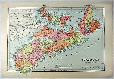 Original 1891 Map of Nova Scotia, Canada by Hunt & Eaton