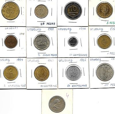 Uruguay Collection Of 13 Coins