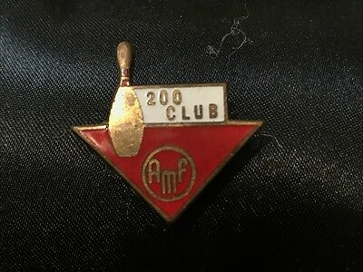 Vintage Enamel Badge Pin - 200 CLUB AMF - Ten Pin Bowling, Miller Ltd