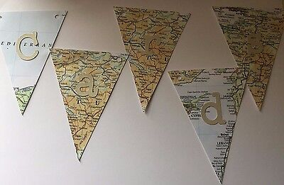 CARDS Map Themed Wedding Bunting - slight second pegs and string NOT included