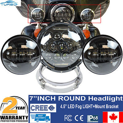 """7"""" MOTORCYCLE BLACK PROJECTOR DAYMAKER LED HEADLIGHT+PASSING FOGLIGHT For Harley"""