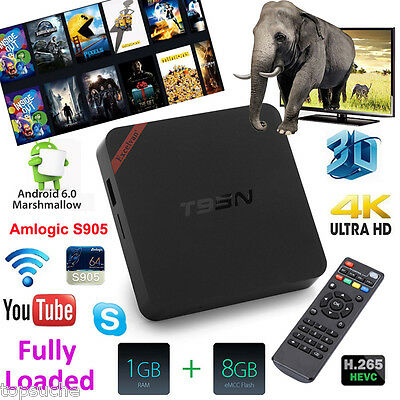 T95N 4K FULLY LOADED Android 6.0 Quad Core 8GB WIFI Smart Media Player TV BOX AU
